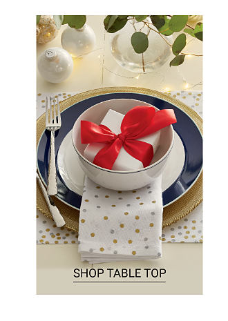 A blue and white table setting with a red bow on top. Shop table top.