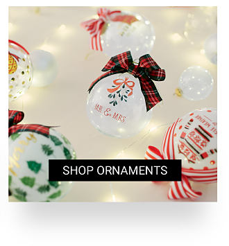 An assortment of Christmas ornaments in a variety of colors and styles. Shop ornaments.
