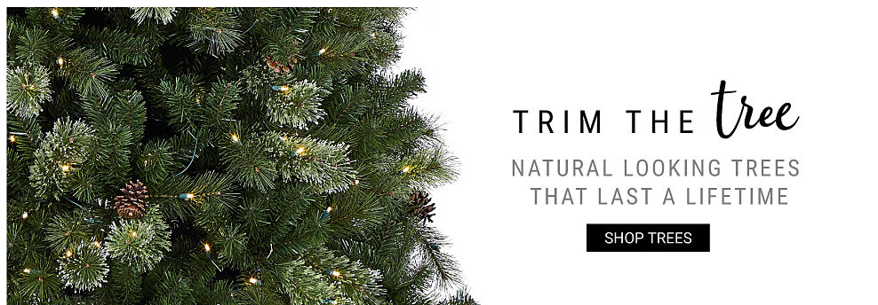 A lightly decorated Christmas tree. Trim the Tree. Natural looking trees that last a lifetim. Shop trees.