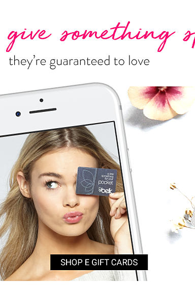 498b4763b An iphone with a picture of a woman holding up a Belk gift card. A