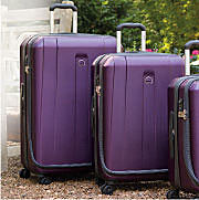 purple suitcases