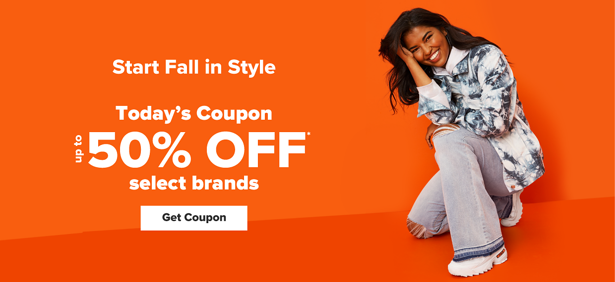 A young woman wears a tie-dye denim jacket over a gray hoodie paired with distressed denim pants. Start fall in style. Online exclusive. Today's coupon. Up to 50% off select brands. Get coupon.