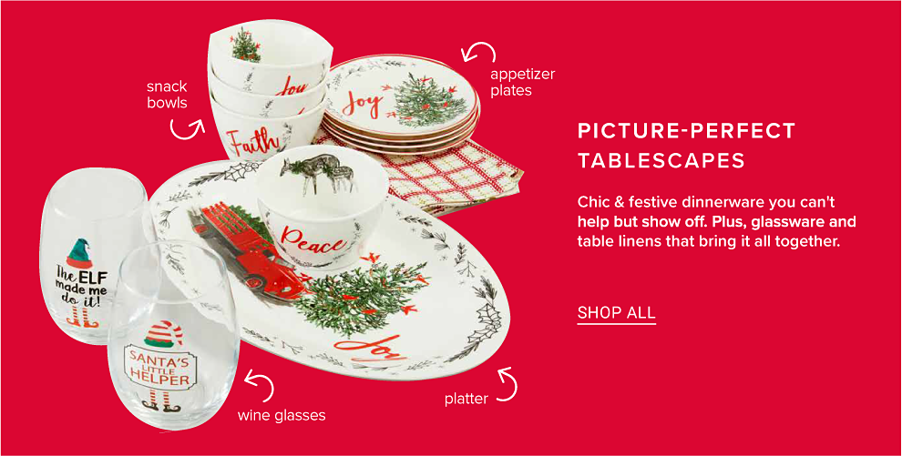 A Christmas dinnerware collection with snack bowls, appetizer plates, stemless wine glasses and a platter. Picture perfect tablescapes. Chic and festive dinnerware you can't help but show off. Plus, glassware and table linens that bring it all together. Shop all.