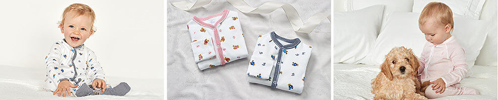 A baby wearing a white onesie with a multi-colored pattern & gray trim. An assortment of onesies. A baby wearing a light pink onesie with white trim. Ralph Lauren is the premier destination for one pieces, rompers, coveralls, sweaters, gift sets. accessories, and other essentials for baby boys and girls as well as infants. Soft fabrics keep baby cozy all season, while sweet dresses and preppy sets will get them ready for spring.