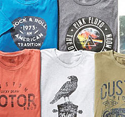 An assortment of young men's graphic tees. Shop graphic tees.