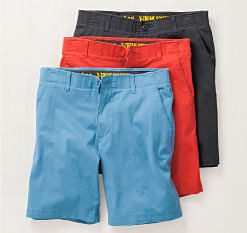 A pair of light blue shorts, a pair of red shorts & a pair of black shorts. Shop shorts.