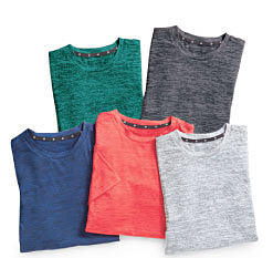 An assortment of T-shirts in a variety of colors. Shop Zelos.