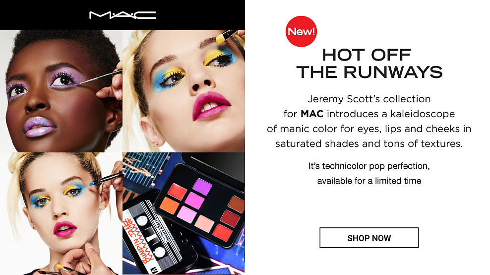 Three women wearing brightly colored makeup from the new MAC collection. A cassette style makeup palette. New. Hot off the runways. Jeremy Scott's collection for MAC introduces a kaleidoscope of manic color for eyes, lips and cheeks in saturated shades and tons of textures. It's technicolor pop perfection, available for a limited time. Shop Now.
