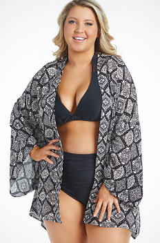2ad6532d0e A young woman wearing a black & white patterned print swim cover up over a  black