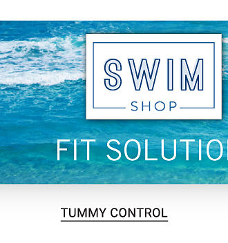 A woman wearing a fuchsia & gray patterned print one piece swimsuit sitting next to a woman wearing a multi colored print one piece swimsuit & a woman wearing a multi colored striped one piece swimsuit. Tummy control & extra support & more. Swim Shop. Fit solutions. Shop tummy control.
