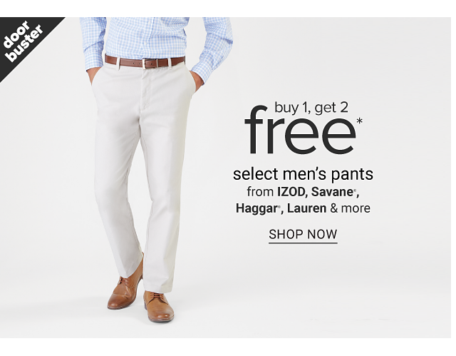 A man wearing a light blue long sleeved button front shirt, white pants & brown shoes. Doorbuster. Buy 1, Get 2 Free select men's pants from Izod, Savane, Haggar, Lauren & more. Shop now.