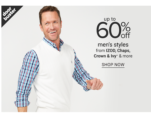 A man wearing a white sweater vest over a blue, light blue & red plaid long sleeved button front shirt. Doorbuster. Up to 60% off men's styles from Izod, Chaps, Crown & Ivy & more. Shop now.