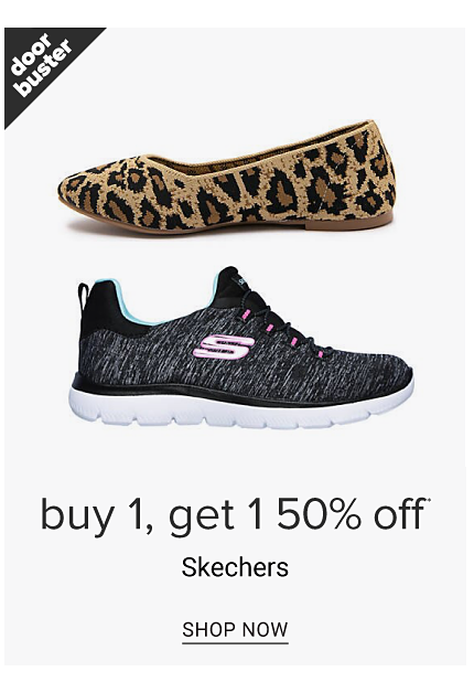 An assortment of sneakers in a variety of colors, prints & styles. Doorbuster. Buy 1, Get 1 50% off Skechers. Shop now.