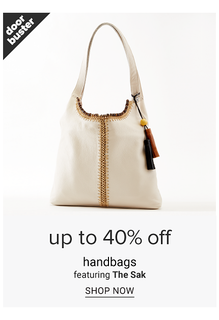 A white leather tote with brown trim. Doorbuster. Up to 40% off handbags featuring The Sak. Shop now.