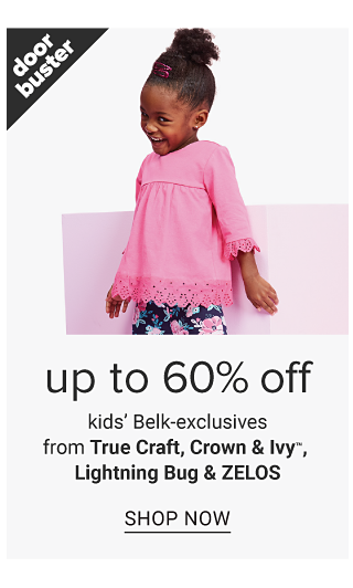 A girl wearing a light pink long sleeved top & black & pink floral print pants. Doorbuster. Up to 60% off kids Belk exclusives from True Craft, Crown & Ivy, Lightning Bug & Zelos. shop now.
