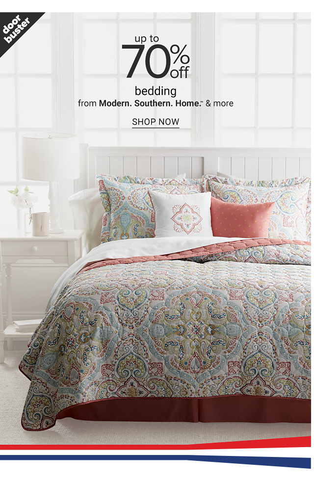 A bed made with a light green & white patterned print quilt & matching pillows. Doorbuster. Up to 70% off bedding from Modern Southern Home & more. Shop now.