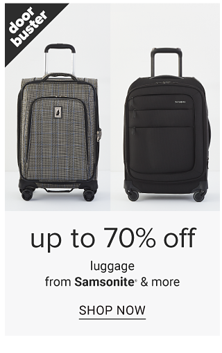 A gray wheeled suitcase with black trim & a black wheeled suitcase. Doorbuster. Up to 70% off luggage from Samsonite & more. Shop now.