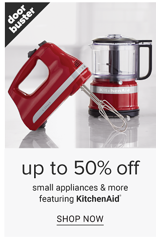 A red hand mixer & a red food processor. Doorbuster. Up to 50% off small appliances featuring KitchenAid. Shop now.