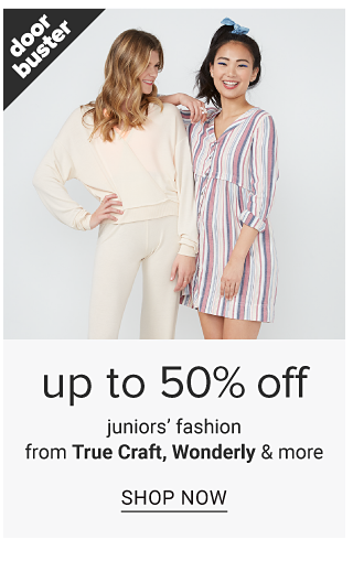 A young woman wearing a white long sleeved top & white pants standing next to a young woman wearing a multi colored vertical striped long sleeved dress. Doorbuster. Up to 50% off juniors fashion from True Craft, Wonderly & more. Shop now.