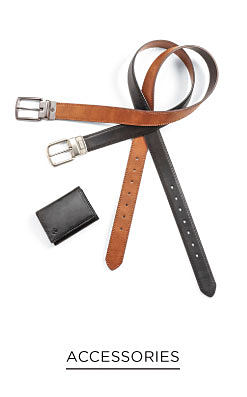 A black leather wallet, a black leather belt & a brown leather belt. Accessories. Shop now.