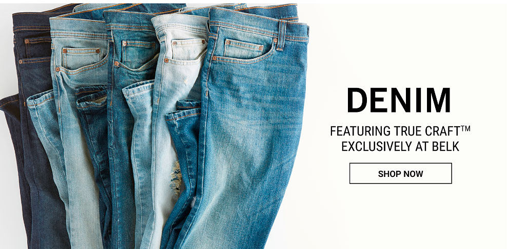 An assortment of men's jeans in a variety of colros & washes. Denim featuring True Craft. Exclusively at Belk. Shop now.