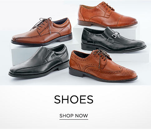 An assortment of black leather men's shoes & brown leather men's shoes. Shoes. Shop now.