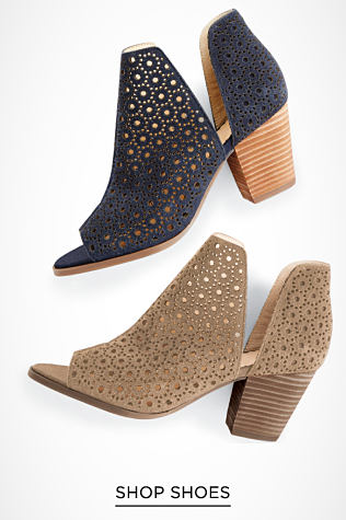 Two shoes of the same style in different colors, navy and tan. They have an open toe design with side cutouts, a wooden heel and are made of breathable open weave fabric. Shop Shoes.