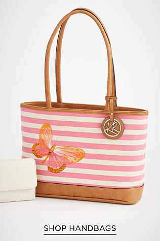 A white wallet next to a pink and white striped tote with light brown top handles and bottom. It is accented by a butterfly and a signature silver-tone Kim Rogers tag. Shop Handbags.