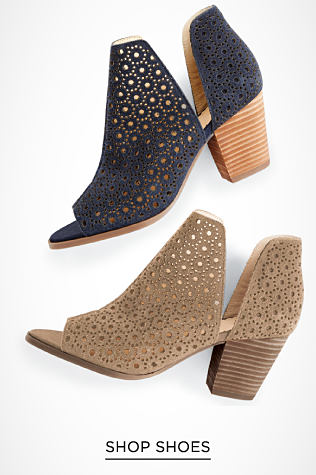 Two of the same style shoe in different colors. One is navy and one is beige. They are open toe with side cutouts, a wooden heel and are made with a breathable, open weave fabric. Shop shoes.