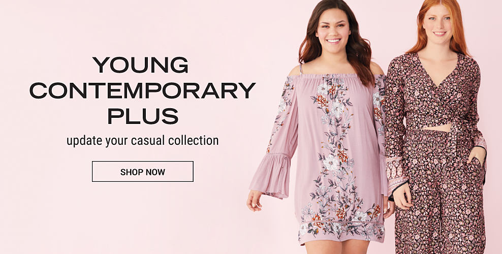 A girl in a short, light pink, vintage style dress with floral embroider and long bell sleeves with cold shoulders. Another girl in a two piece, floral outfit with a cropped, long sleeve top and wide leg pants. Young contemporary plus. Update your casual collection. Shop now.