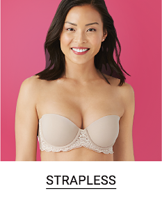A woman in a nude colored strapless bra. Shop strapless.