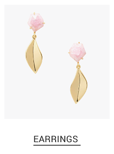 Gold tone & light pink stone drop earrings. Shop fashion jewelry earrings.