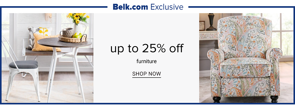 Belk.com exclusive. A small round wooden table with metal legs and bistro chair with metal legs. A colorful lounge chair. Up to 25% off furniture. Shop now.