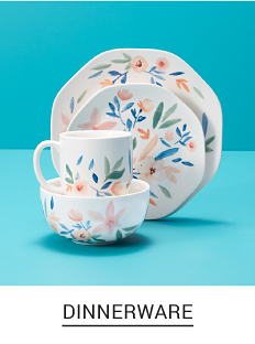 A multi colored floral print place setting. Shop dinnerware.