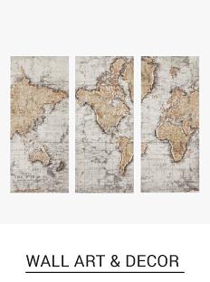 A world map triptych wall hanging. Shop wall art & decor.