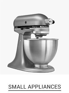 A brushed silver metal KitchenAid bowl mixer. Shop small appliances.