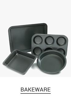 An assortment of gray non stick baking pans. Shop bakeware.