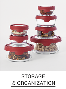 An assorted of clear food containers with red lids Shop storage & organization.