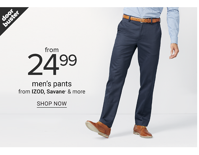 A man wearing a light blue long sleeved button front shirt, navy pants & brown shoes. Doorbuster. From $24.99 men's pants from Izod, Savane & more. Shop now.