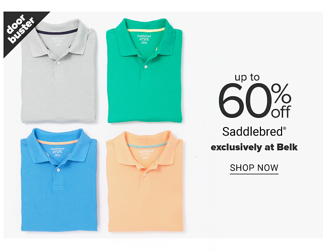 An assortment of men's polos in a variety of colors. Doorbuster. Up to 60% off Saddlebred. Exclusively at Belk. Shop now.