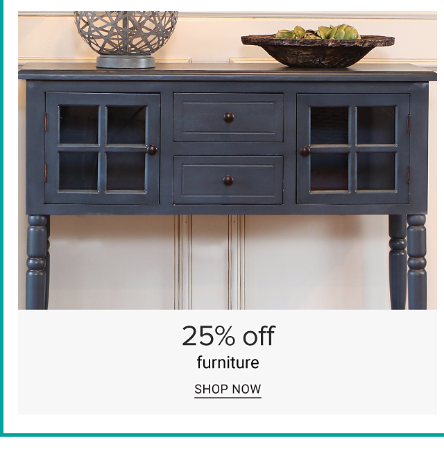 A dark gray console table with decorative accents on top. 25% off furniture. Shop now.