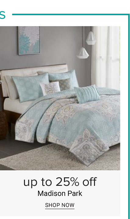 A bed made with a multi pastel colored paisley print comforter, matching pillows & white sheets. Up to 25% off Madison Park. Shop now.