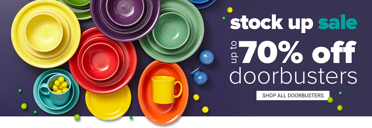 An assortment of Fiesta plates, bowls and mugs in a variety of colors. Stock Up Sale Doorbusters Up to 70% off. Shop all doorbusters.
