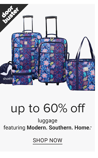A multi colored patterned print 5 piece luggage set. Doorbuster. Up to 60% off luggage featuring Modern Southern Home. Shop now.