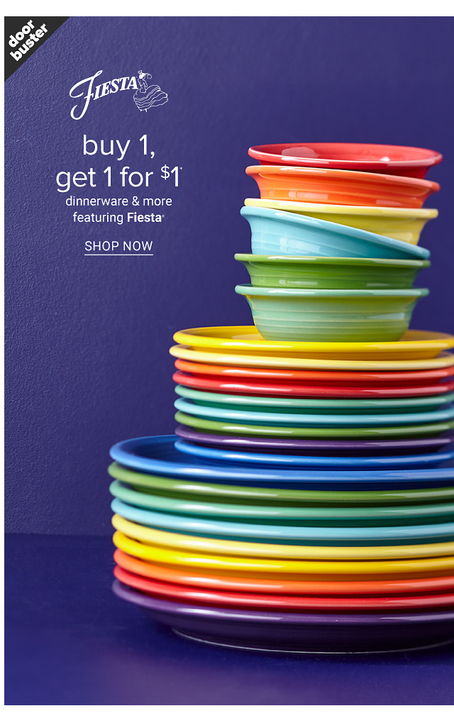 A stack of Fiesta bowls & plates in a variety of colors. Doorbuster. Buy 1, Get 1 for $1 dinnerware & more featuring Fiesta. Shop now.