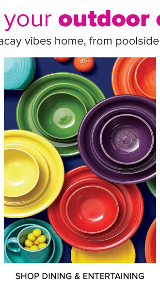 Create your outdoor oasis. Bring the vacay vibes home, from poolside to patio. An assortment of colorful bowls, plates and dinnerware. Shop dining and entertaining.