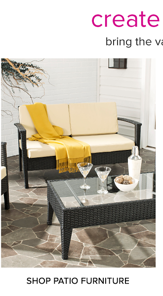 Create your outdoor oasis. Bring the vacay vibes home, from poolside to patio. An assortment of patio furniture. Shop patio furniture.