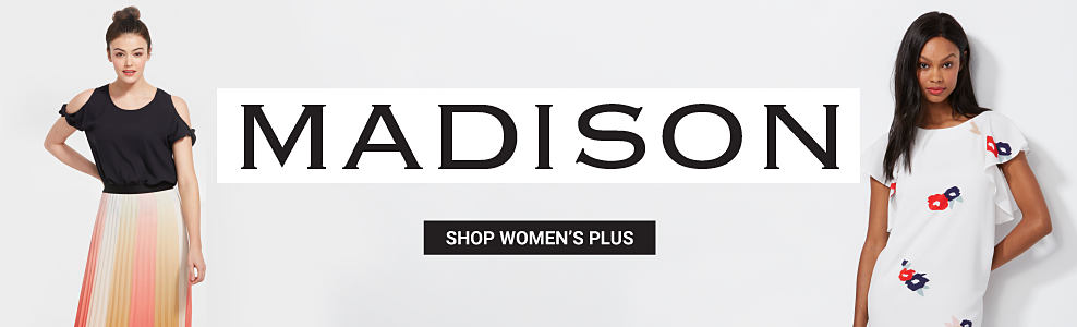 A woman wearing a black cold shoulder top and a multi-colored vertical striped skirt. A woman wearing a white short s leeved dress with a a red & blue floral print. Madison. Shop women's plus.