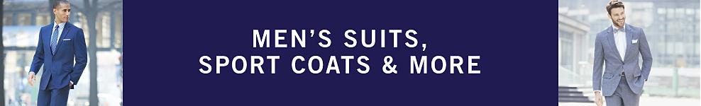 A man wearing a navy suit, white dress shirt & a blue tie. Men's Suits, Sport Coats & More.