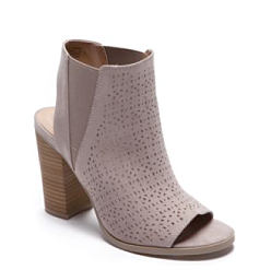 A wedge heeled open toe bootie. Shop shoes.